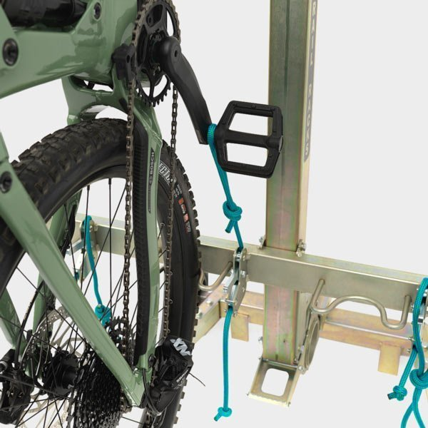 Single Trail Racks Rope Fastening System (RFS) attaches your bike to your vertical rack with a single, extremely reliable attachment point.