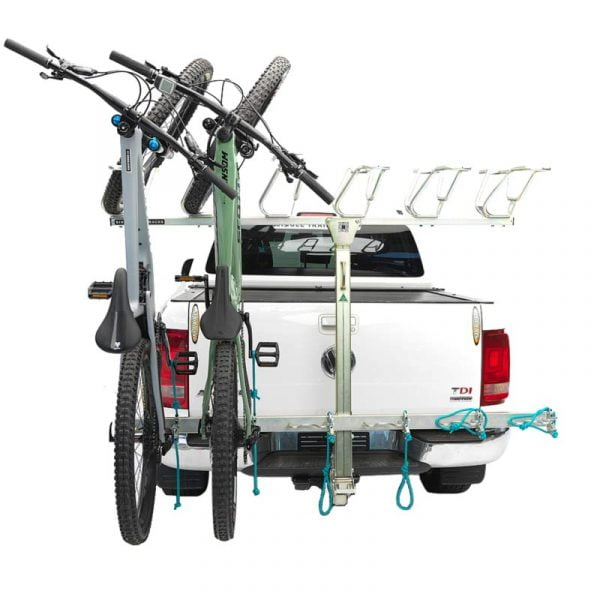 Single Trail Racks vertical bike rack with 2 bikes mounted onto a 50mm trailer hitch - carry up to 6 bikes and expand or repair your bike rack. Innovative and Australia's best bike shuttle rack.