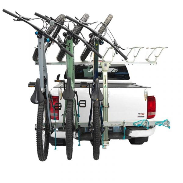 Single Trail Racks 3 bike vertical rack mounted into 50mm trailer hitch - expandable to 6 bikes as pictured.
