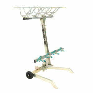 Single Trail Racks 4 bike upright car rack on garage stand - a trailer hitch-mount bike rack that hangs 4 bikes vertically with features that minimise movement and maximise the protection of your 4 bikes.
